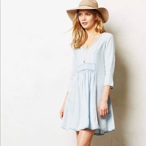 Anthropologie Faded Baby Blue Dress
